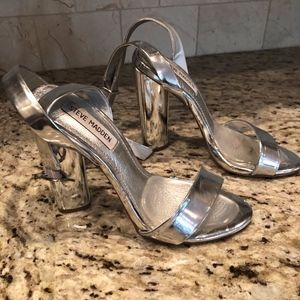Steve Madden Shoes - Steve Madden 5in Silver Treasure Strappy Heel Sz7M